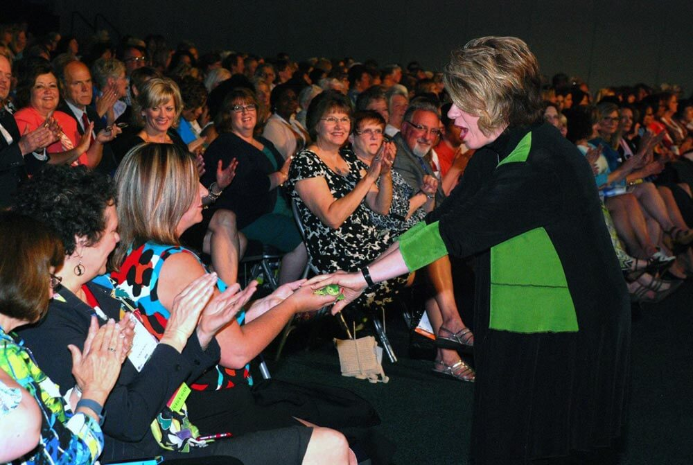 Kathy Dempsey and Lenny with audience member