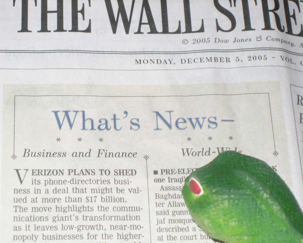 Lenny reading WSJ about Verizon